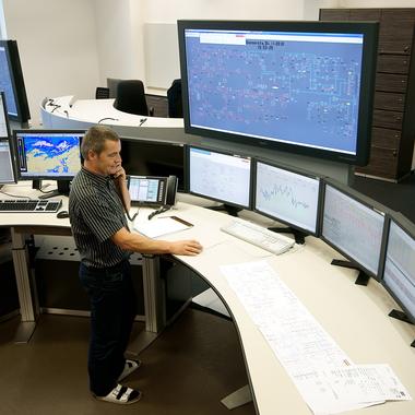 Im Netzführungszentrum erfolgt die Koordination unseres Verteilungsnetzes.