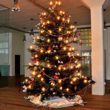 Ein riesiger Weihnachtsbaum begrüsst die Gäste jährlich im Dezember.