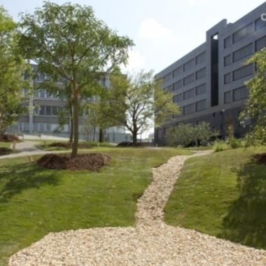 Blick von unserem neuen Mitarbeiterpark auf das Produktionsgebäude am Standort Brehmstraße