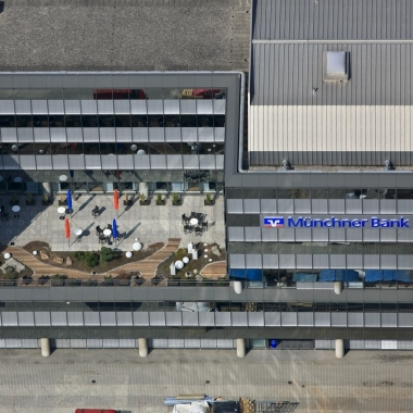 Blick von Oben auf unser Verwaltungsgebäude im Forum Bogenhausen