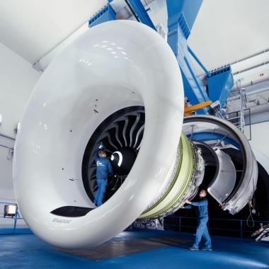 Ein GE90 Growth bei der Instandhaltung in Hannover.
