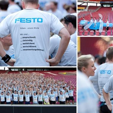Derzeit sind unsere Mitarbeiter in insgesamt 24 Betriebssportgruppen organisiert. Beim  offenen B2Run-Firmenlauf in Stuttgart stellte das Team Festo sogar über 500 Läufer.