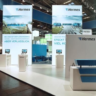 Messeauftritt Hermes Transport Logistics. MIKS inszeniert die drei Kompetenzbereiche des globalen Logistikanbieters und setzt den Menschen und sein Anliegen in den Mittelpunkt.
