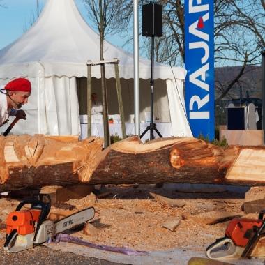 Guntram Prochaska gestaltet Holzskulptur beim Sommerfest 2014