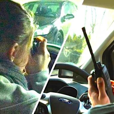 Arbeit mit Spiegelreflexkameras und Sprechfunk
