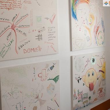 Zukunftsvisionen, die wir in einem unserer Workshops ausgearbeitet haben, hängen exponiert in unserem Treppenhaus.