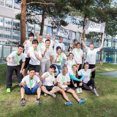 Sportlich, sportlich unser Team. Anfeuern hieß es auf dem Köln Marathon 2014.