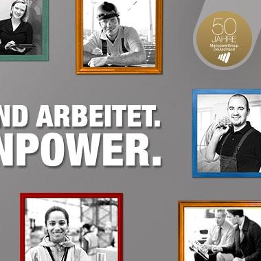 """Die Botschaft """"Deutschland arbeitet. Mit Manpower."""" bringt zum Ausdruck, welchen Stellenwert das Unternehmen am deutschen Arbeitsmarkt hat. Das Kampganenmotiv mit den verschiedenen Berufsgruppen beweist auf sympathische und menschliche Art, dass Arbeit auf Zeit ihre Berechtigung und ihren Wert besitzt. Das zentrale Key Visual unterstützt den starken Slogan auf eine höchst positive und emotionale Weise."""