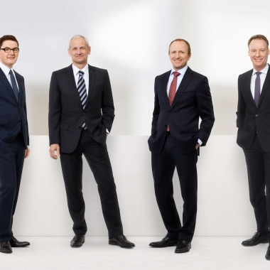 Der Vorstand der Horváth AG (v.l.n.r.): Helmut Ahr, Dr. Michael Kieninger, Dr. Uwe Michel und Altfrid Neugebauer