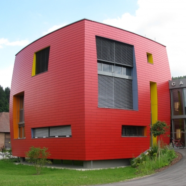 FunderMax Exterior - Projekt Campus Futura, Bleiburg (Architekt:  Architekturbüro Frei & Wurzrainer ZT GmbH, Verarbeiter: Lavanttaler Holzbau)
