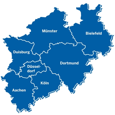 Die sieben Niederlassungsgebiete des BLB NRW.