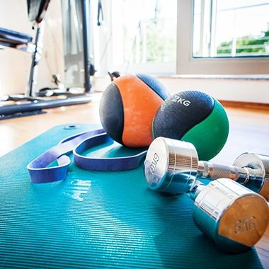 In unserem Fitnessraum können wir uns richtig auspowern.