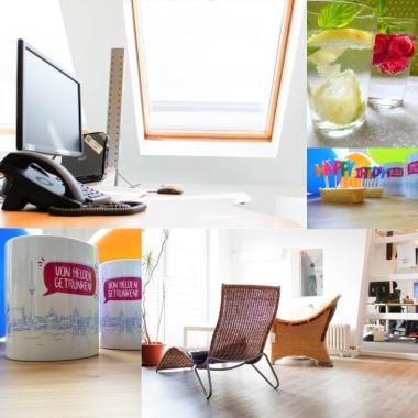 Ansprechende Büroräume und Lounges. Getränke? Selbstverständlich!