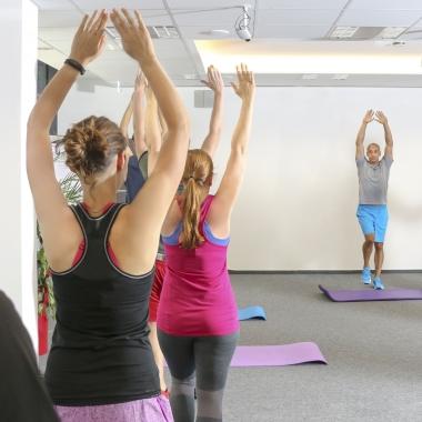 Wöchentliches Fitnessprogramm bei infoteam (auch virtuell).