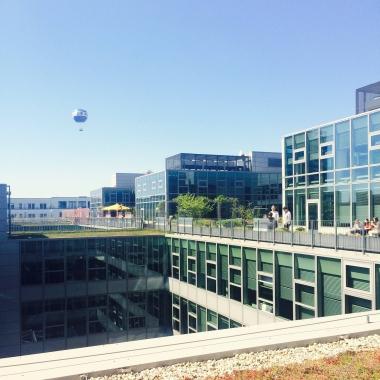 Unsere Dachterrasse - bei schönem Wetter ein super Ort zum Arbeiten