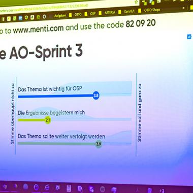 Agile Organisation – Abstimmung über die Ergebnisse vom letzten Sprint beim OSP-AO-Slam
