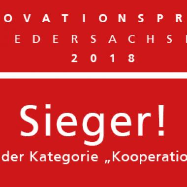 """Wir sind Sieger! Den Innovationspreis Niedersachsen 2018 haben wir in der Kategorie """" Kooperation"""" zusammen mit Fa. Osthaus & Beckert gewonnen."""
