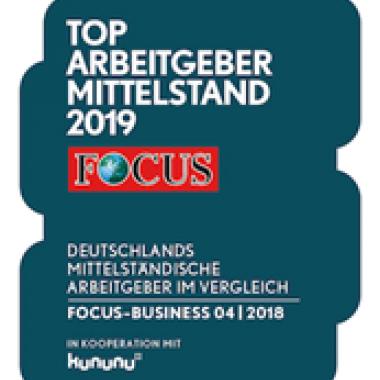 Wir freuen uns sehr, dass wir 2019 Top Arbeitgeber des Mittelstands geworden sind - danke @FOCUS !