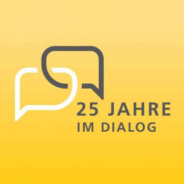 Wir haben mehr als ein Vierteljahrhundert Erfahrung im Dialogmarketing: unser Jubiläumslogo 2019
