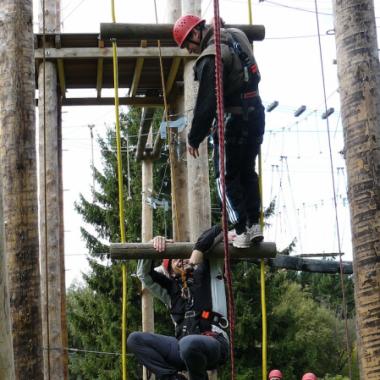 Teamwork in schwindeligen Höhen