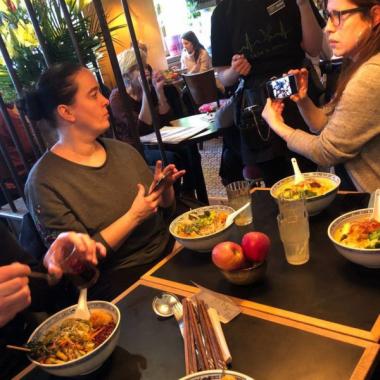 Enjoying a vegan dinner during our Wellness Challenge!