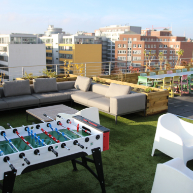 Play foosball on our rooftop terrace