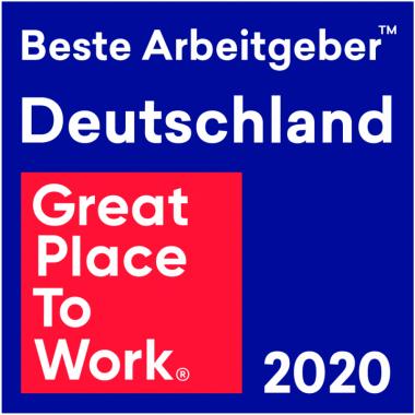 """In 2020 erreichten wir beim Wettbewerb """"Great Place to Work"""" Platz 15 der besten Arbeitgeber in Deutschland in der Größenklasse 50-100 Mitarbeitende."""