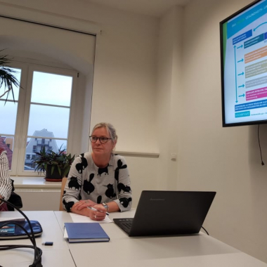 Auch politisch ist die Geschäftsführung unterwegs - hier im Ausschuss für Gesundheit, Soziales und Familie bei der Präsentation des CHAMÄLEON e.V.