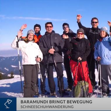 baramundianer gehen gemeinsam  Schneeschuhwandern