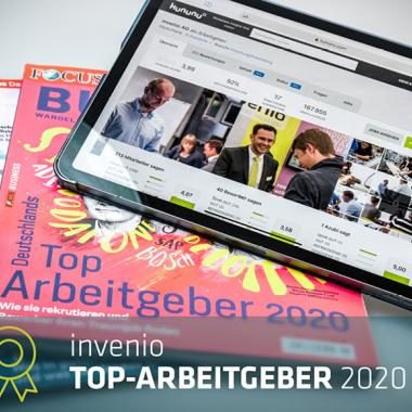invenio-Auszeichnung: Wir wurden 2020 doppelt als Top Nationaler Arbeitgeber ausgezeichnet.