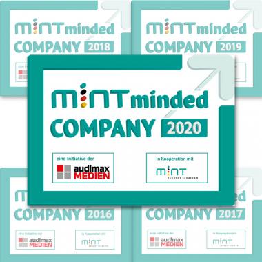 Seit 2015 wurden wir bisher jedes Jahr als MINT minded company ausgezeichnet!