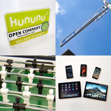 eWorks - Kununu Open Company - unterm blauen Himmel, Kicker,  Tablets und Handys