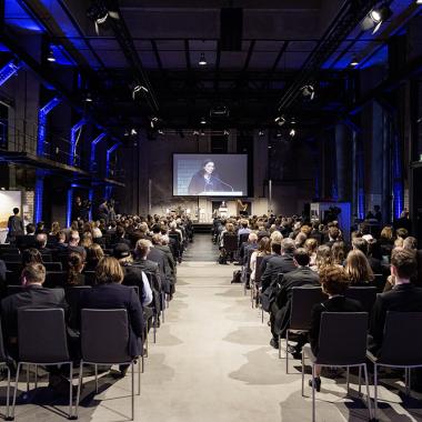 Bundesarbeitsministerin Andrea Nahles spricht bei den Feierlichkeiten zum 50-jährigen Jubiläum des IAB im Jahr 2017 in Berlin.