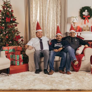 3 Weihnachtsmänner als Models für unser Weihnachtsset ;-)