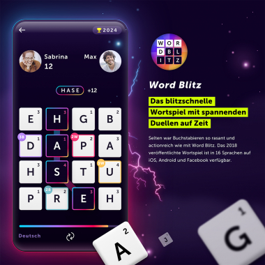Das blitzschnelle Wortspiel mit spannenden Duellen auf Zeit: Selten war Buchstabieren so rasant und actionreich wie mit Word Blitz.