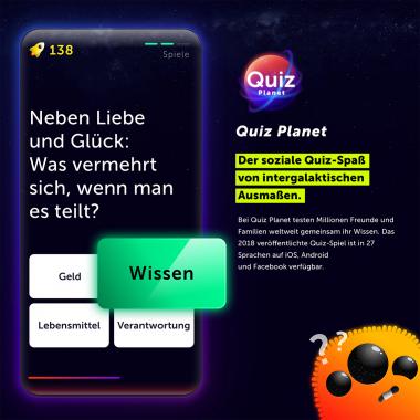 Der soziale Quiz-Spaß in 27 Sprachen: In Quiz Planet testen Millionen Familien und Freund:innen weltweit gemeinsam ihr Wissen.