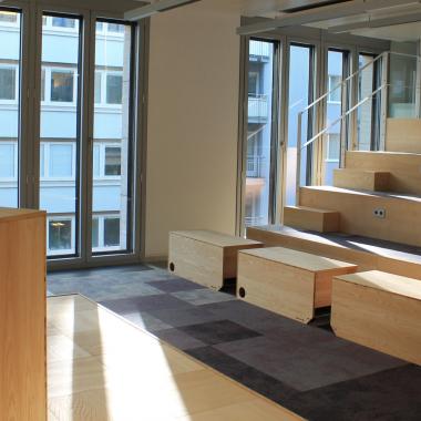 """Unsere """"Arena"""" in Frankfurt. Hier finden Vorträge, Workshops und andere Events statt."""