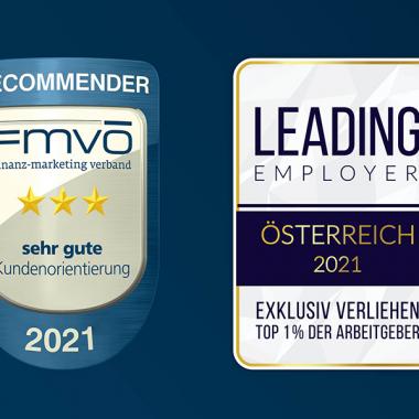 FVMÖ-Recommender Award für sehr gute Kundenorientierung und Leading Employer Award 2021