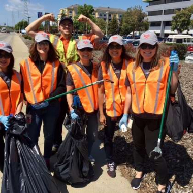 Redwood City CA - Equinix employees get a jump start on Earth Day, cleaning up litter.