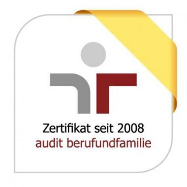 Zertifikat audit berufundfamilie - seit 2021 mit der goldenen Schärpe