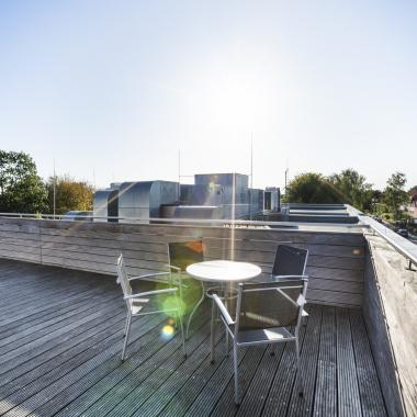 Unsere Dachterasse mit Süd-Sonne