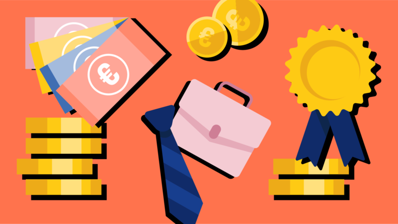 Illustration with coins, one tie, bag and euro bills