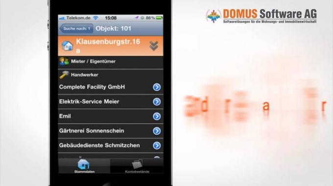 DOMUS 4000 App iPhone für Immobilienverwalter