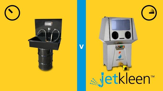 """""""Jetkleen"""" - Hochdruckreinigungssystem vs. manueller Pinselwaschtisch"""