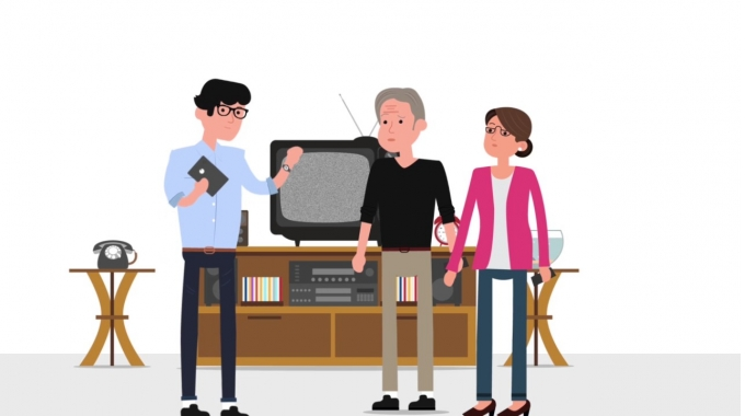 Der Technikberater hilft Alex' Eltern