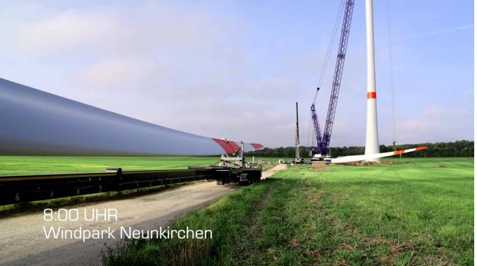 Windkraftanlage der Stadtwerke Tübingen im Bayerischen Odenwald